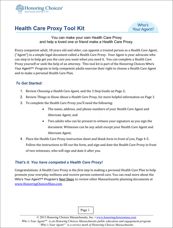 Sm2015 Health Care Proxy Tool Kit 1